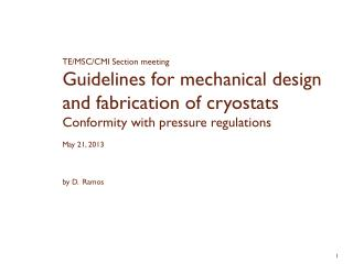TE/MSC/CMI Section meeting Guidelines for mechanical design and fabrication of cryostats