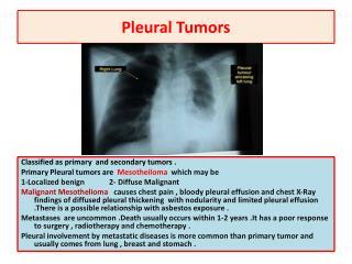Pleural Tumors
