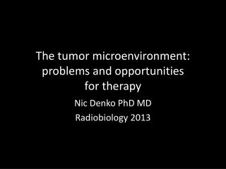 The tumor microenvironment: problems and opportunities  for therapy