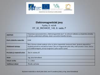 Elektromagnetické jevy Fyzika, 9. ročník VY_32_INOVACE_143 ,  8 .  sada, F