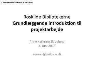Roskilde Bibliotekerne Grundlæggende introduktion til projektarbejde