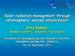 Solar radiation management through stratospheric aerosol enhancement