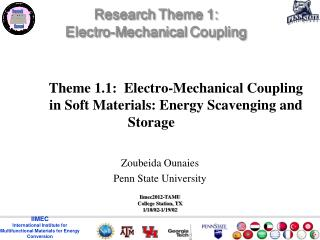 Theme 1.1:   Electro-Mechanical Coupling in  Soft Materials: Energy Scavenging  and  Storage