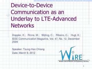 Device-to-Device Communication as an Underlay to LTE-Advanced Networks