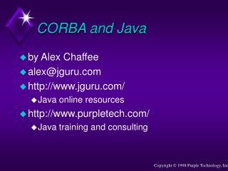 CORBA and Java
