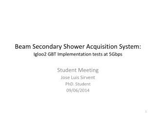 Beam Secondary Shower Acquisition System: Igloo2 GBT Implementation tests at 5Gbps