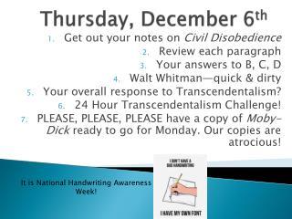 Thursday, December 6 th