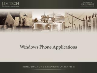 Windows Phone Applications