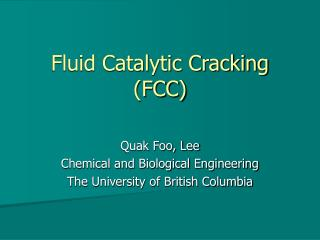 Fluid Catalytic Cracking FCC