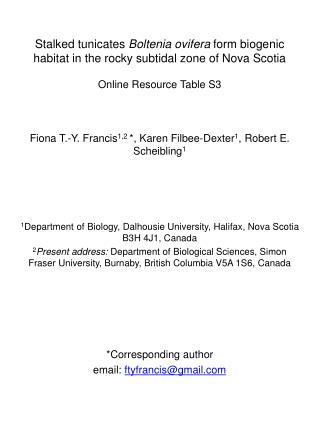 Fiona T.-Y. Francis 1,2  *, Karen Filbee-Dexter 1 , Robert E. Scheibling 1