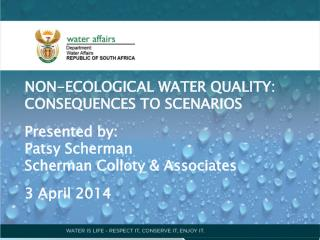 NON-ECOLOGICAL WATER QUALITY: CONSEQUENCES TO SCENARIOS Presented by: Patsy Scherman