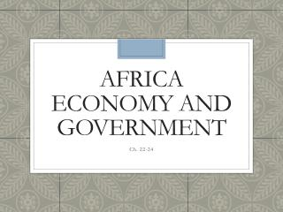 Africa Economy and Government