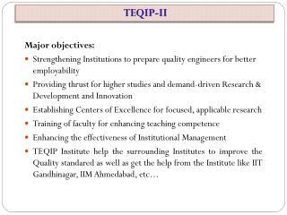 Major objectives: