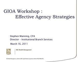 GIOA Workshop : Effective Agency Strategies