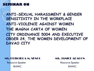 SEMINAR ON  ANTI-SEXUAL HARASSMENT & GENDER SENSITIVITY IN THE WORKPLACE