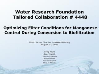 Water Research Foundation  Tailored Collaboration # 4448