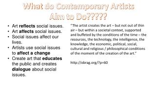 What  do Contemporary Artists Aim to Do?????