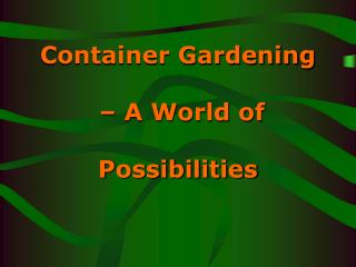 Container Gardening - A World of Possibilities