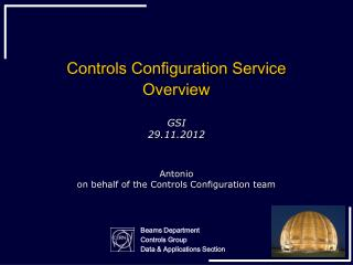 Controls Configuration Service O verview
