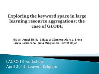 Exploring the keyword space in large learning resource aggregations: the case of GLOBE