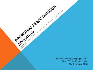 promoting peace through  education