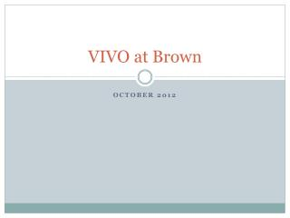 VIVO at Brown
