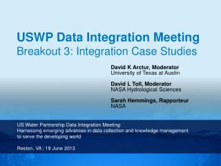US  Water  Partnership  Data Integration Meeting: