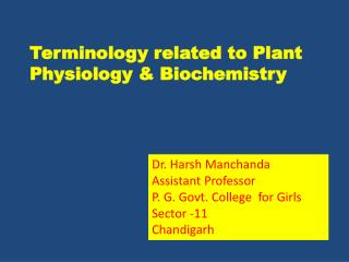 Terminology related to Plant Physiology & Biochemistry