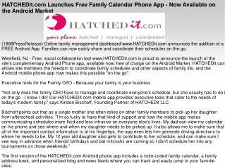 HATCHEDit.com Launches Free Family Calendar Phone App - Now