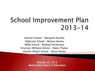 School Improvement Plan  2013-14