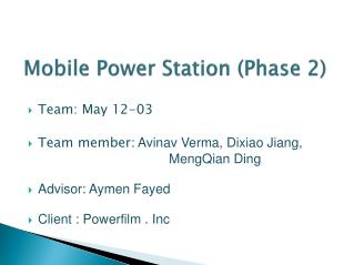 Mobile Power Station (Phase 2)