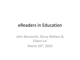 eReaders  in Education