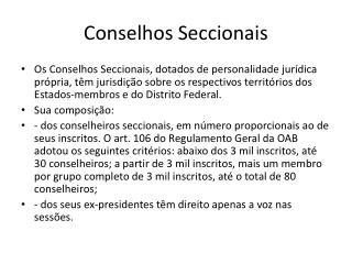 Conselhos Seccionais