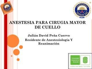 ANESTESIA PARA CIRUGIA MAYOR DE CUELLO