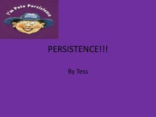 PERSISTENCE!!!