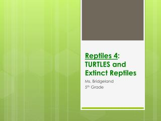 Reptiles 4 : TURTLES and  Extinct Reptiles