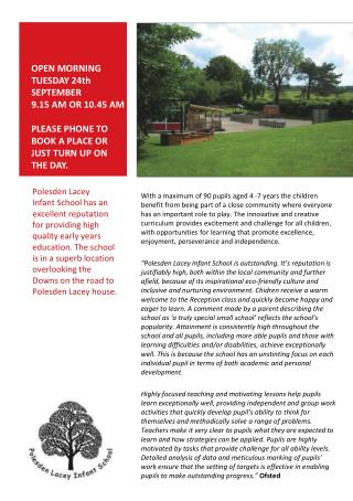 Polesden Lacey Infant School has an excellent reputation for providing high quality early years