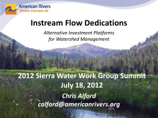 Instream  Flow Dedications