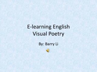 E-learning English Visual Poetry