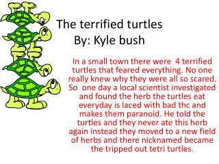 The terrified turtles By:  K yle bush