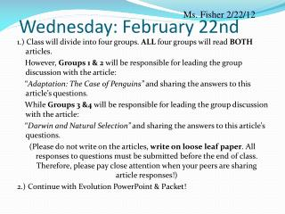 Wednesday: February 22nd