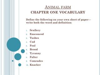 Animal farm chapter one vocabulary