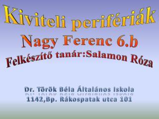 K iviteli perifériák Nagy Ferenc 6.b Felkészítő tanár:Salamon Róza