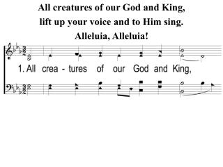 All creatures of our God and King, lift up your voice and to Him sing. Alleluia, Alleluia!