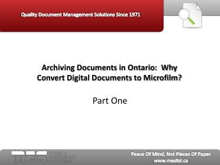 Archiving Documents in Ontario Part One