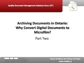 Archiving Documents in Ontario Part Two