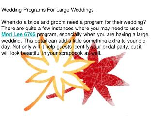 Wedding Programs For Large Weddings