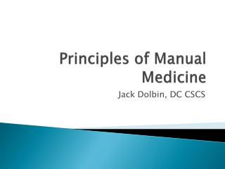 Principles of Manual Medicine