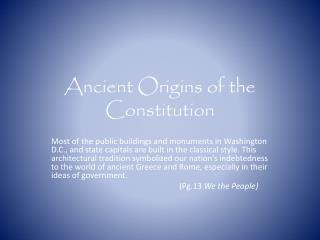 Ancient Origins of the Constitution
