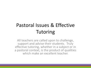 Pastoral Issues & Effective Tutoring